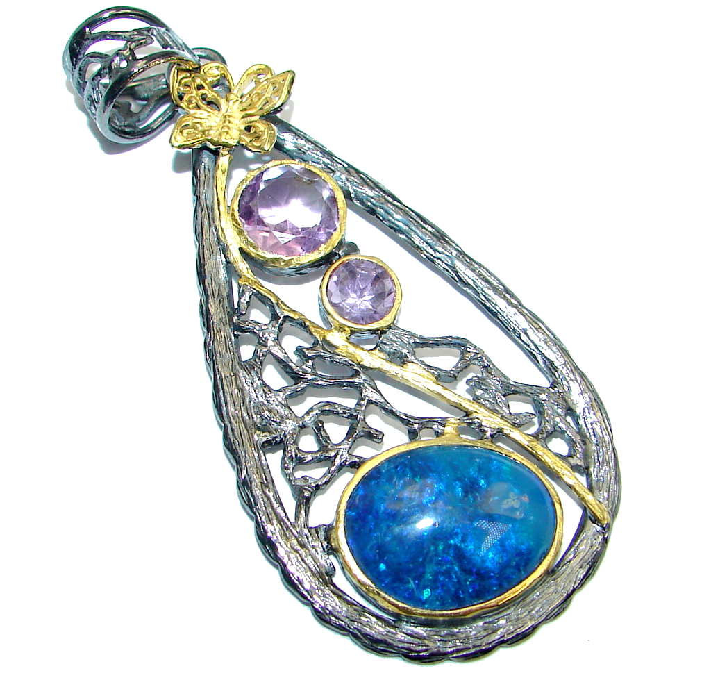 Beautiful Doublet Opal Amethyst Gold plated over  Sterling Silver handmade P..