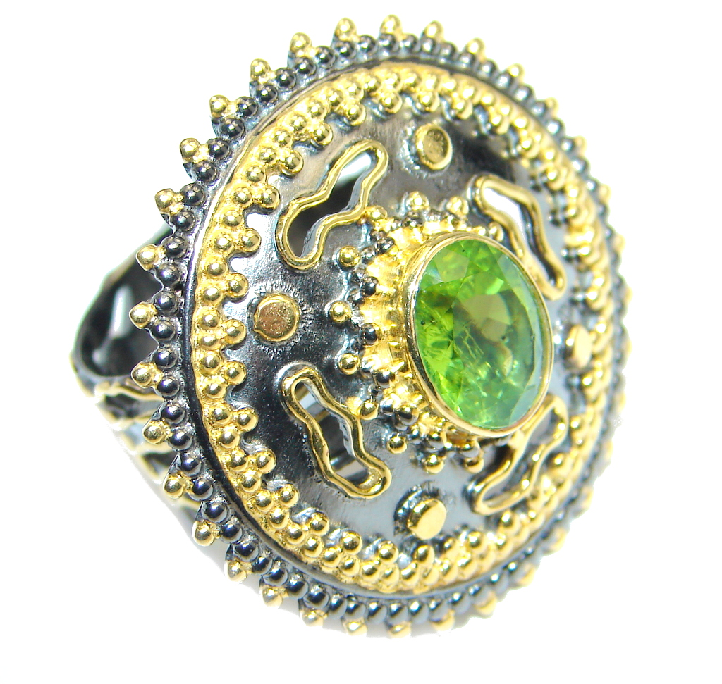 Stylish Genuine Peridot Gold plated over Sterling Silver Ring size adjustable
