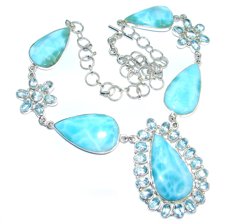 Caribbean Beauty Blue Larimar Swiss Blue Topaz Sterling Silver handcrafted necklace