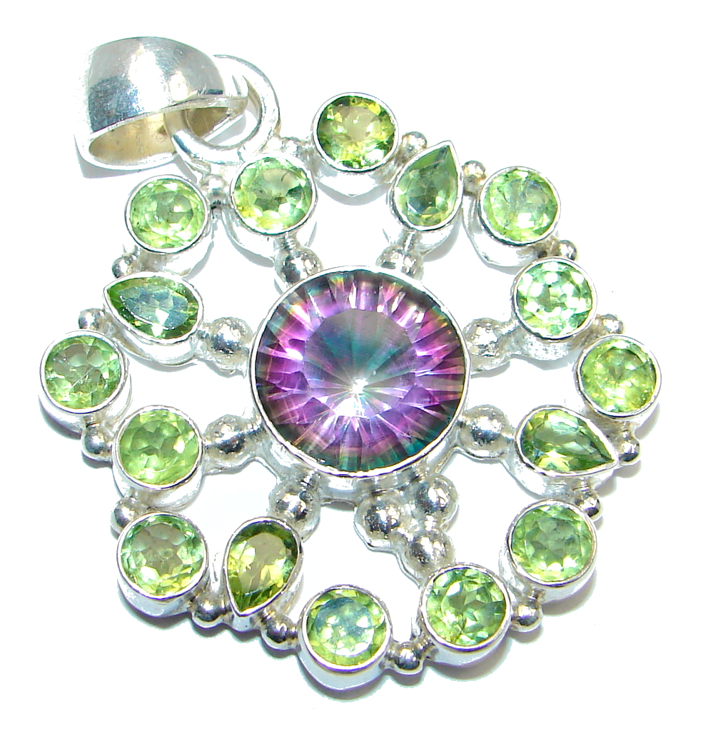 Amazing Magic Topaz Peridot Sterling Silver handmade Pendant