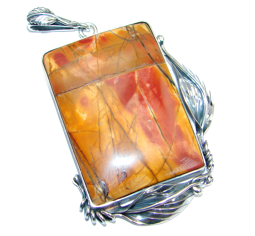 AAA quality Red Creek Jasper Sterling Silver Handmade Pendant