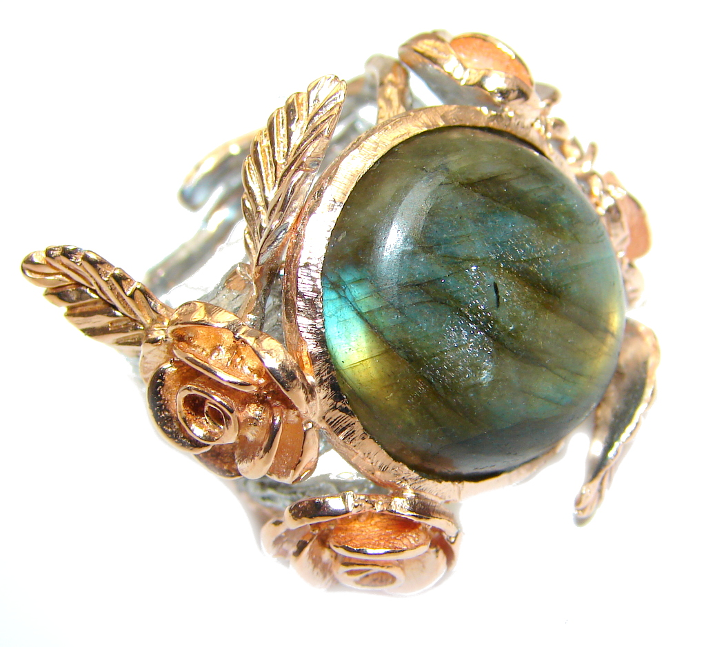 Blue Aura Fire Labradorite Rose Gold plated over Sterling Silver ring size adjustable