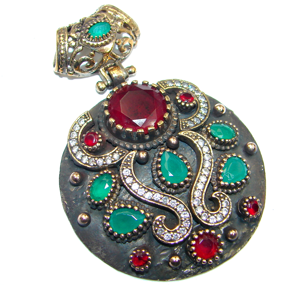 Victorian Style Created Ruby & White Topaz Sterling Silver Pendant