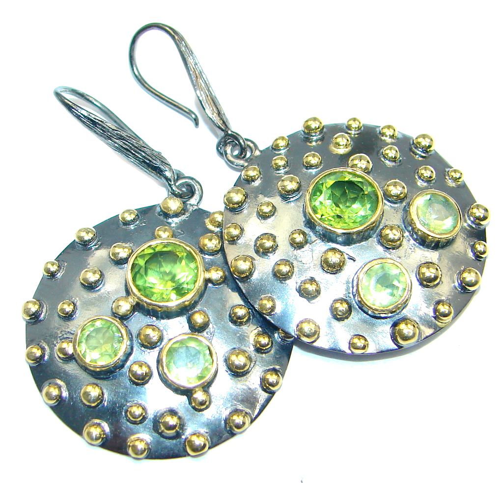 Genuine Peridot Gold plated over Sterling Silver handmade stud Earrings