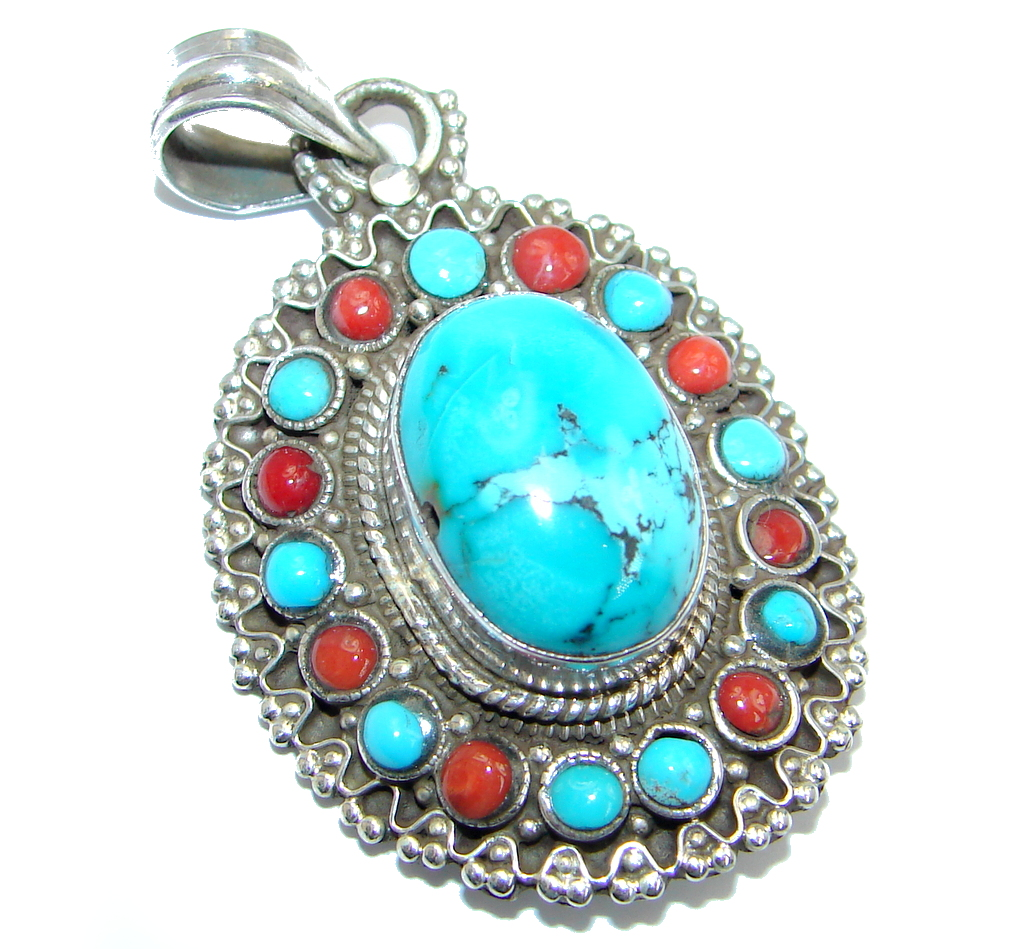 Genuine Blue Turquoise & Coral Sterling Silver handmade Pendant