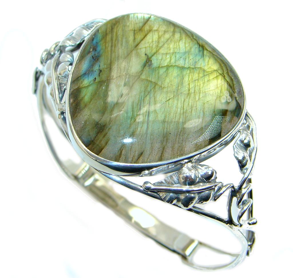 Floral Design Fire Labradorite Sterling Silver handmade Bracelet