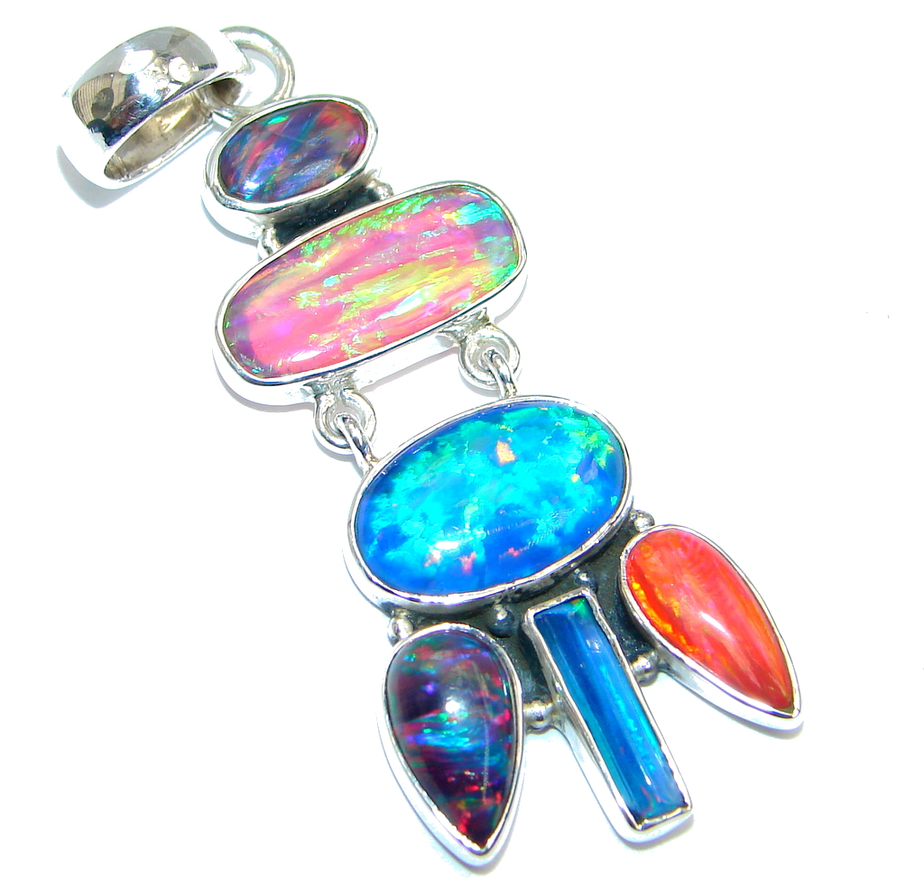 Abstract Lab. created Fire Opal Sterling Silver handmade Pendant