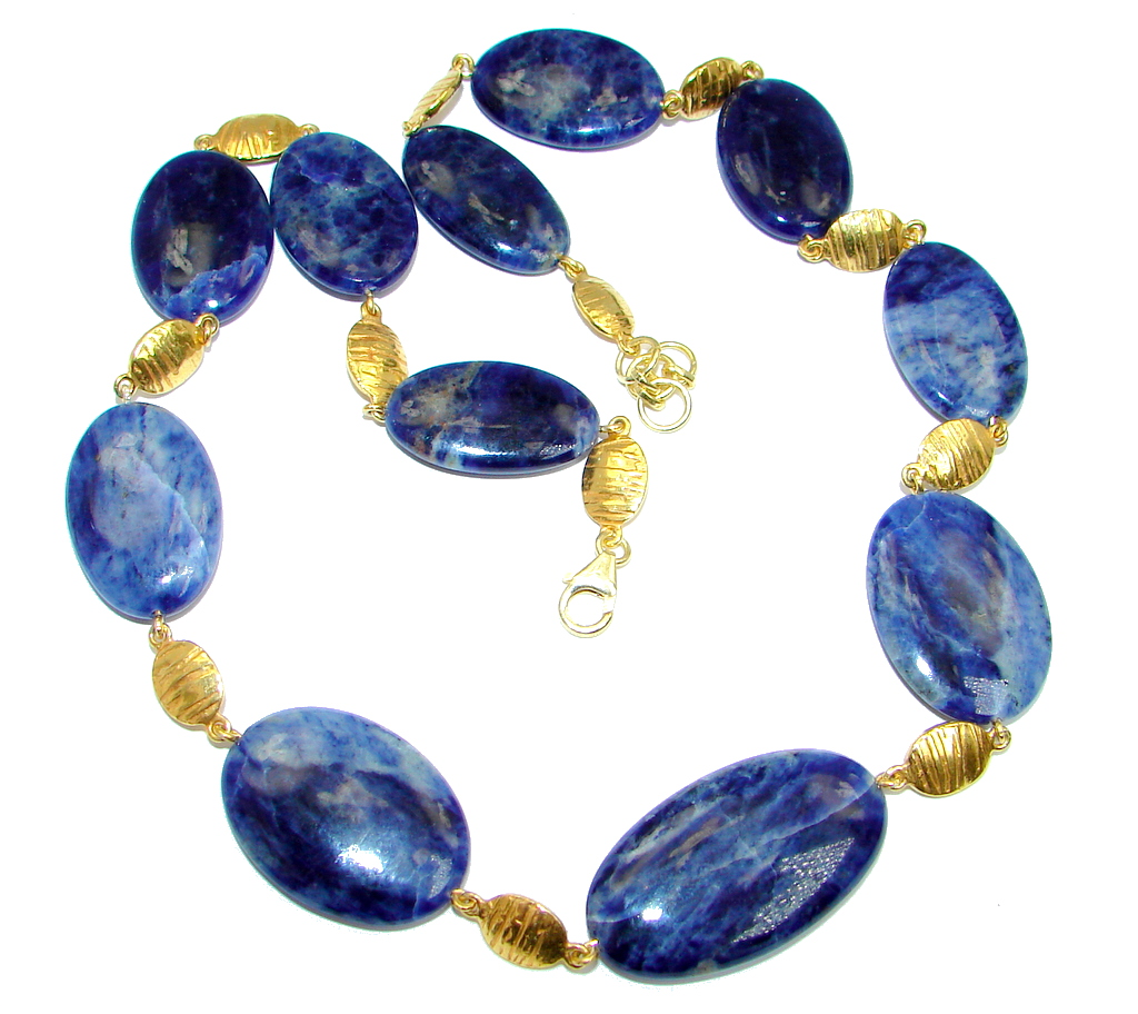 Huge Genuine Brazilian Blue Sodalite Gold plated over Sterling Silver handmade necklace