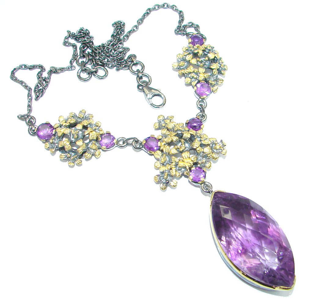 Genuine Huge Amethyst Gold Rhodium plated over Sterling Silver handcrafted necklace