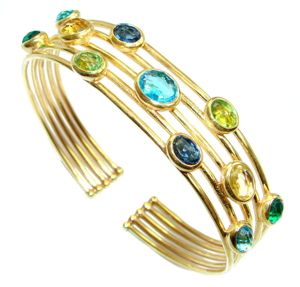 Paradise simulated Gemstones Gold plated over Sterling Silver Bracelet