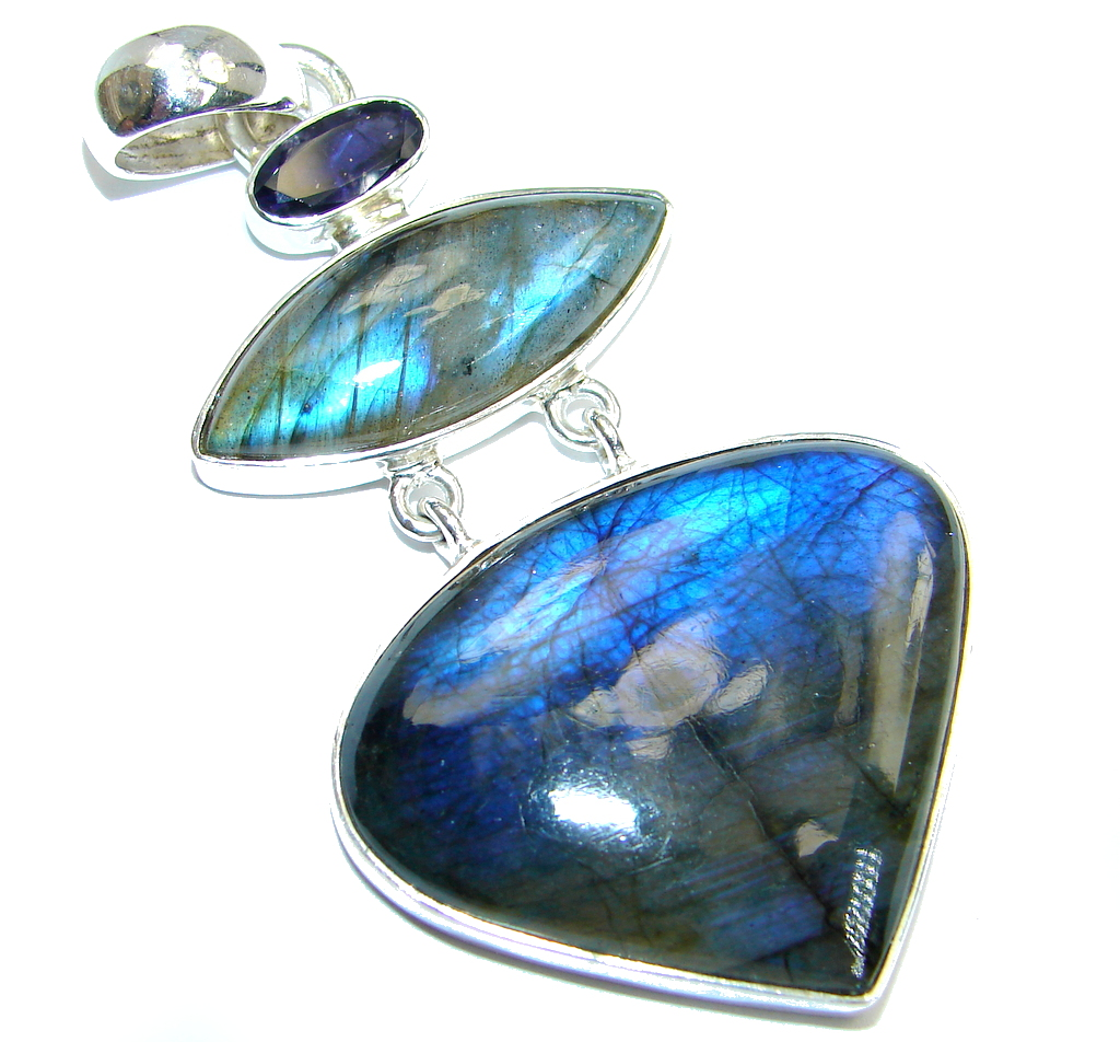 Northern Lights Labradorite Iolite Sterling Silver handmade Pendant
