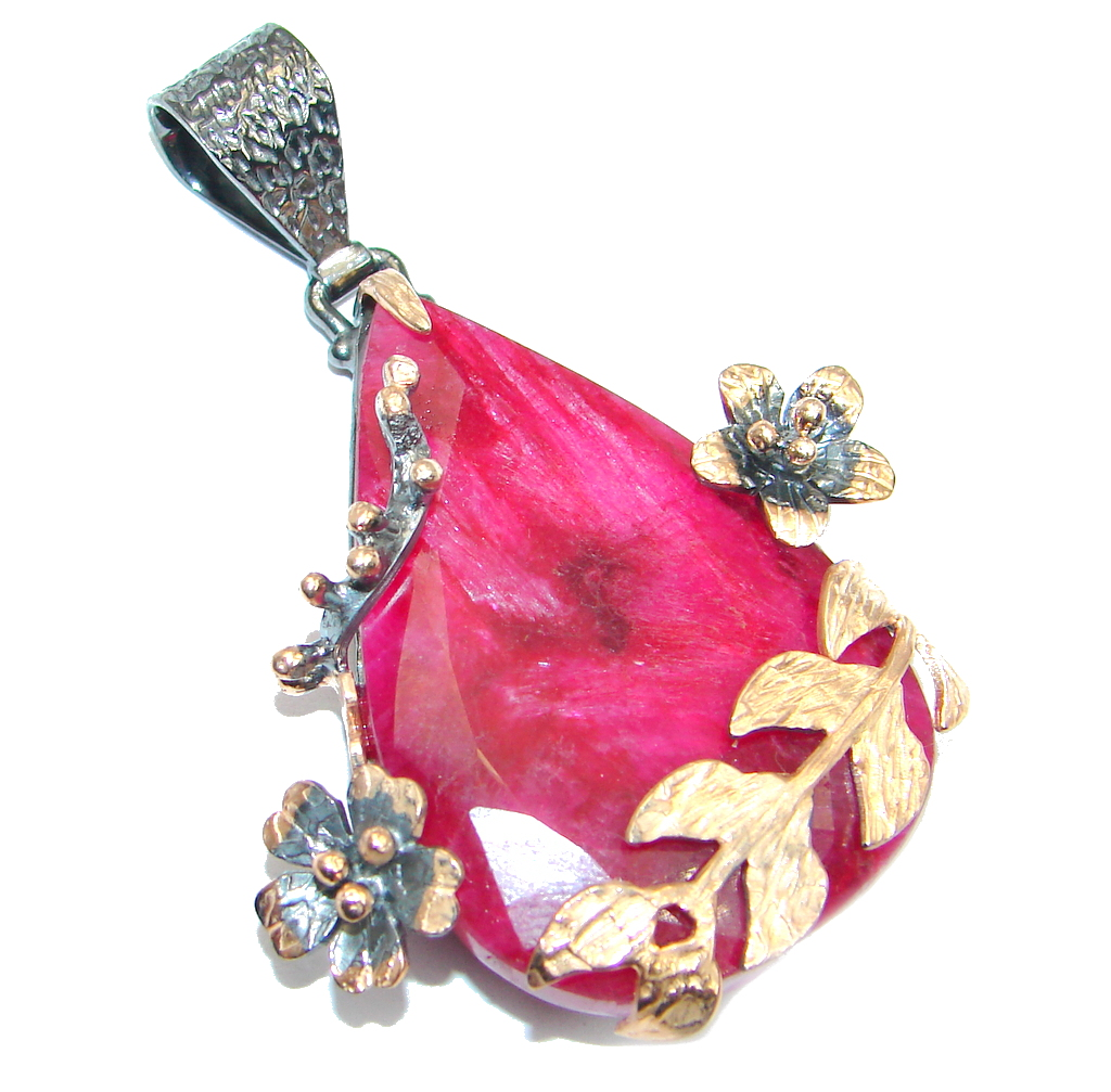 Amazing Ruby Rose Gold Rhodium plated over Sterling Silver handmade Pendant