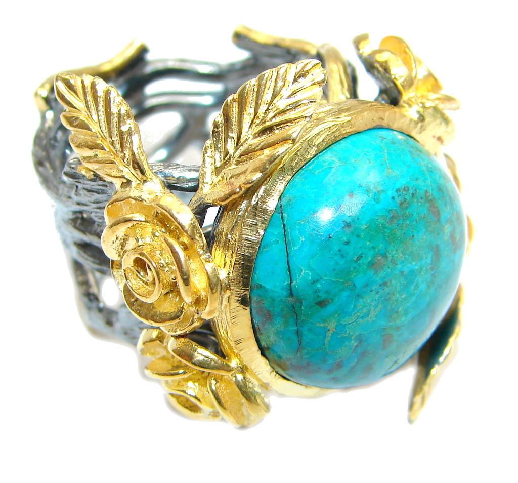 Stone Of Harmony Parrots Wing Chrysocolla Gold Rhodium plated over Sterling Silver ring s. 8 1/4