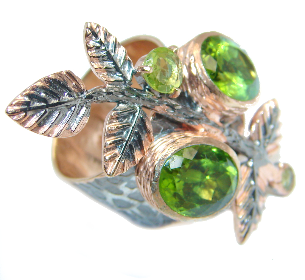 Genuine Peridot Rose Gold Rhodium plated over Sterling Silver ring s. 6 3/4