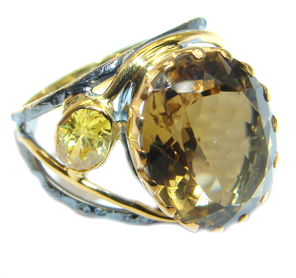 Beautiful Champagne Smoky Topaz Gold Rhodium plated Sterling Silver Ring s. 8
