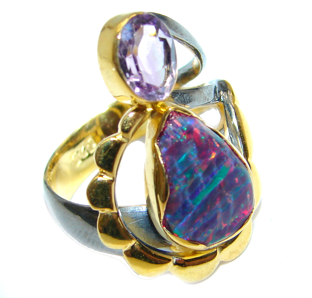 Blue Doublet Fire Opal Gold plated over Sterling Silver  Ring  size 7