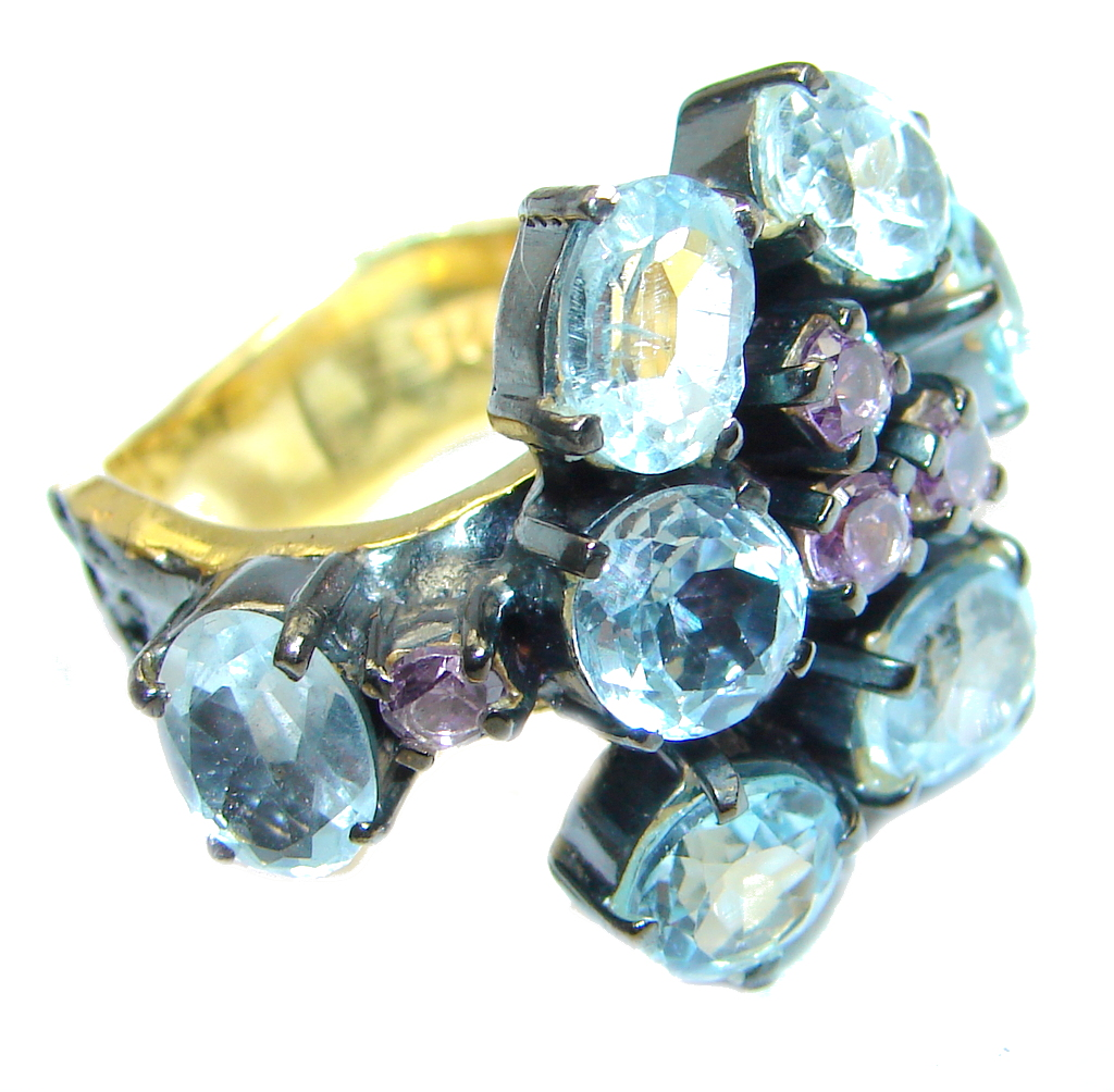 Amethyst Blue Topaz Gold Rhodium plated over Sterling Silver Ring s. 7