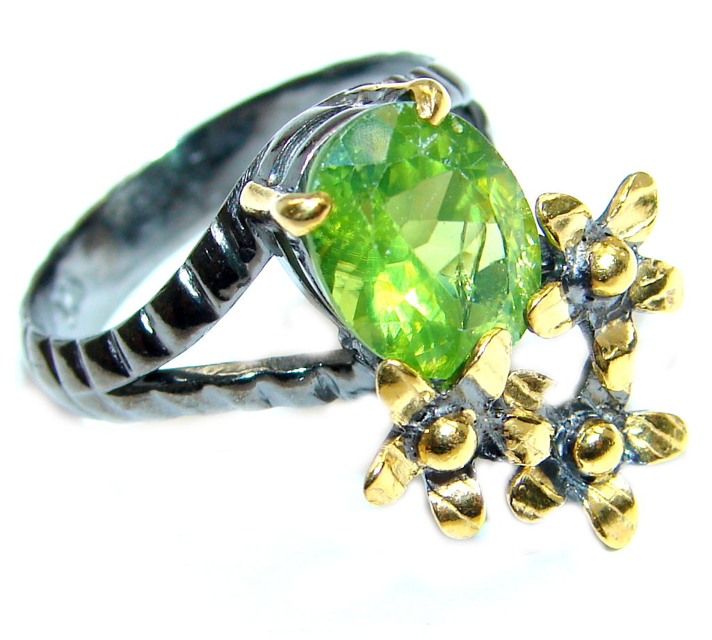 Genuine Peridot Gold Rhodium plated over Sterling Silver ring s. 7