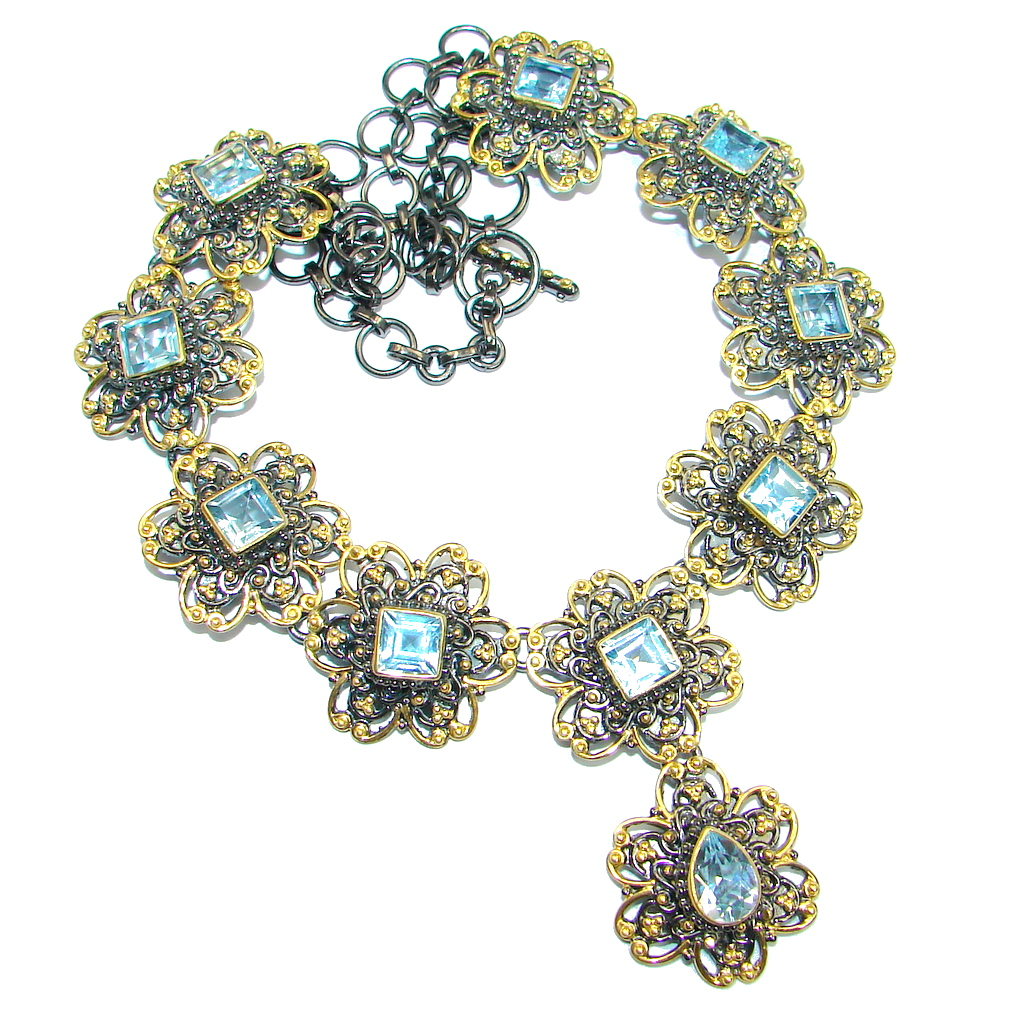 Swiss Blue Topaz Gold Rhodium plated over Sterling Silver handcrafted necklace