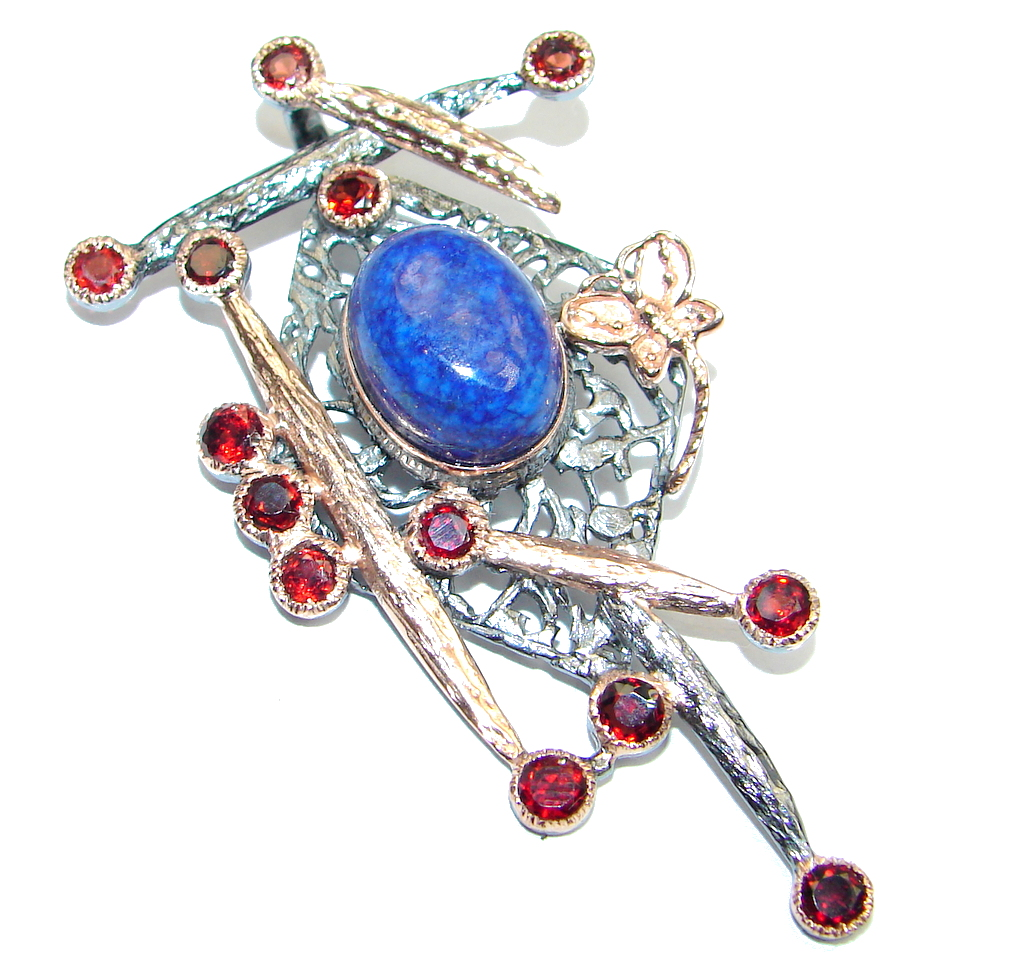 Amazing Blue Lapis Lazuli Rose Gold plated over Sterling Silver handmade Pendant