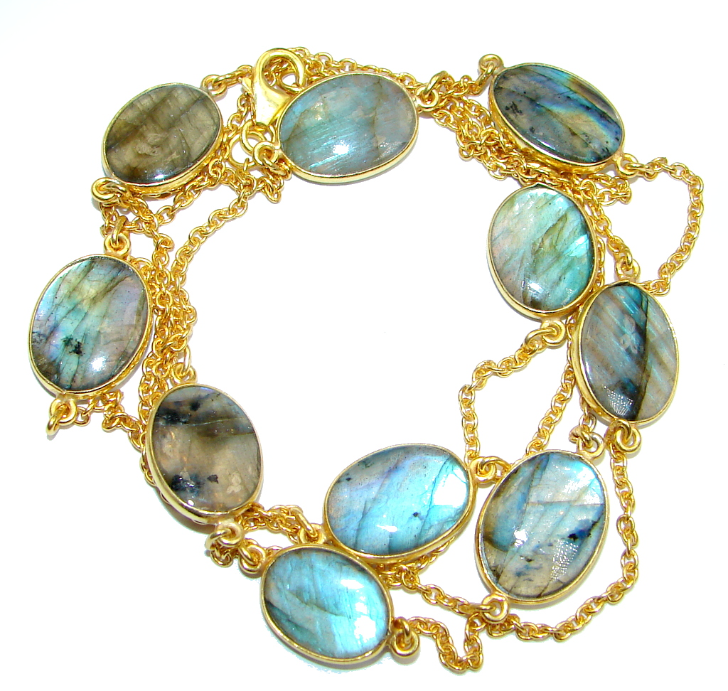 36 inches genuine Labradorite Gold plated over Sterling Silver Necklace