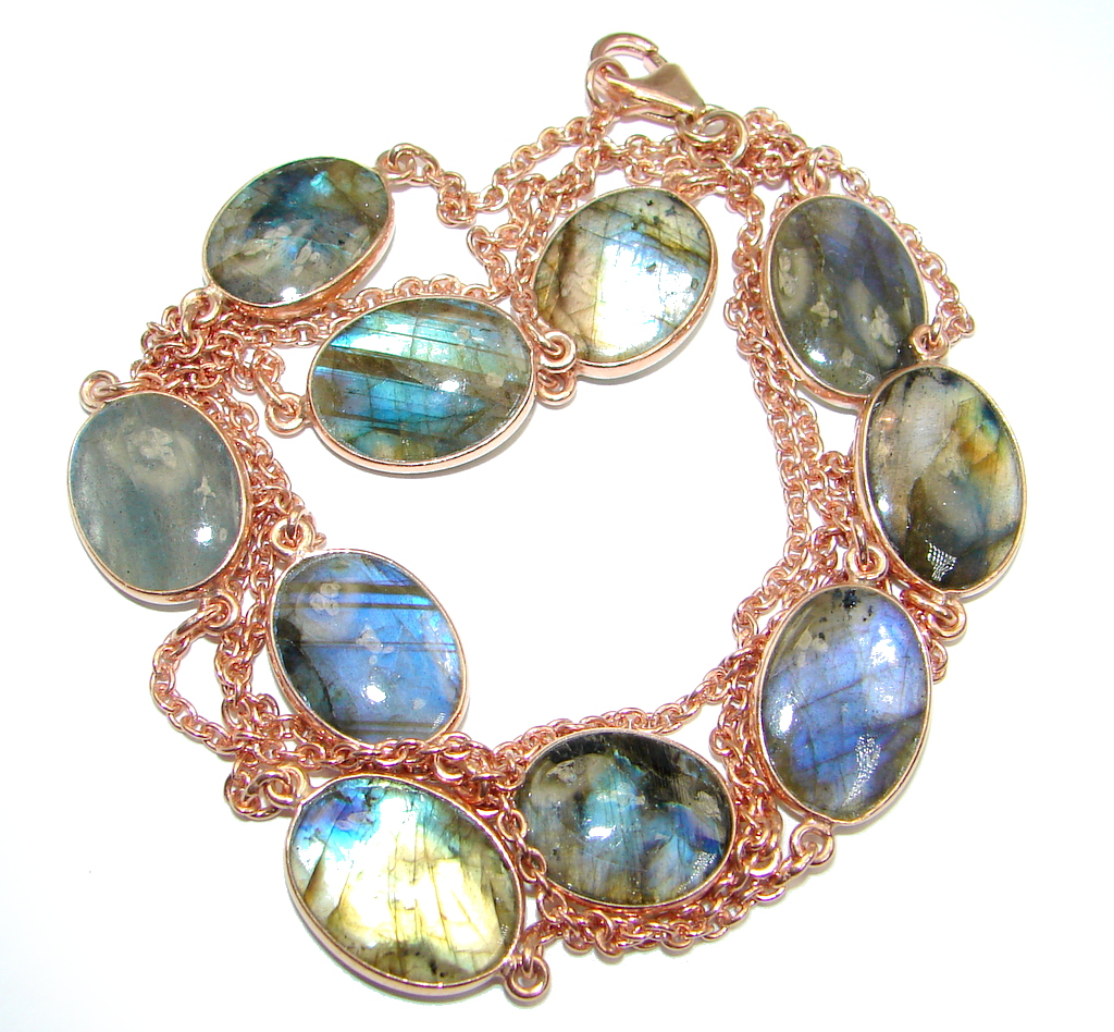 36 inches genuine Labradorite Rose Gold plated over Sterling Silver Necklace