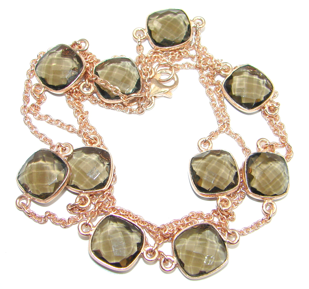 36 inches simulated Smoky Topaz  Rose Gold plated over Sterling Silver handm..