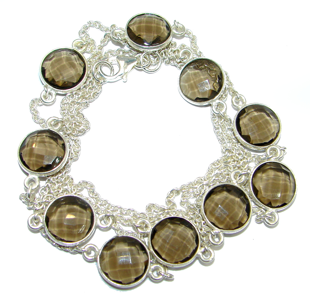 36 inches simulated Smoky Topaz Sterling Silver handmade Necklace