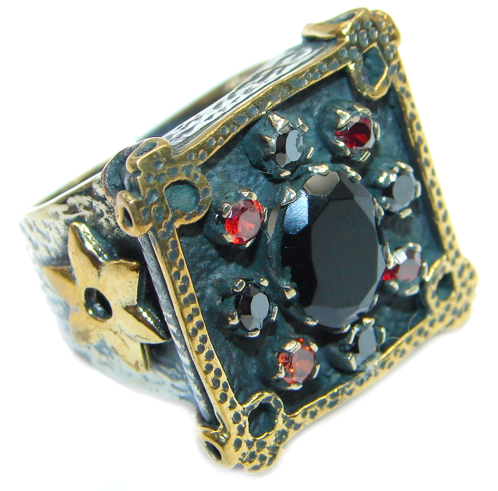 Garnet Black Onyx Gold over Sterling Silver ring size 8 1/4