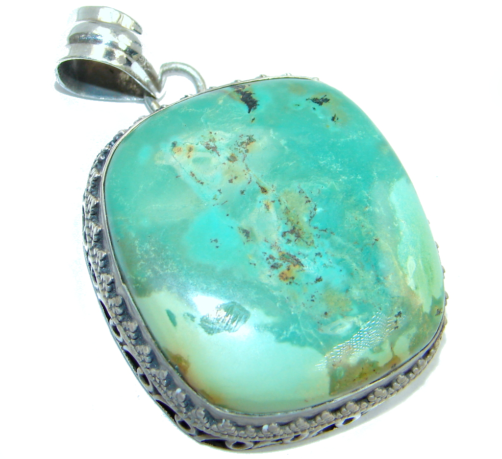 Carico Lake Lime Green Turquoise Sterling Silver handmade Pendant