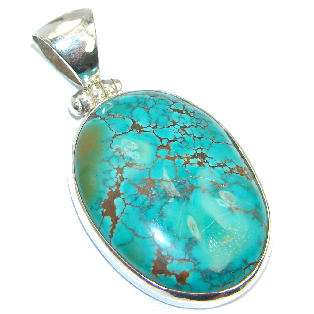 Classic Bisbee Turquoise from Arizona Sterling Silver handmade Pendant