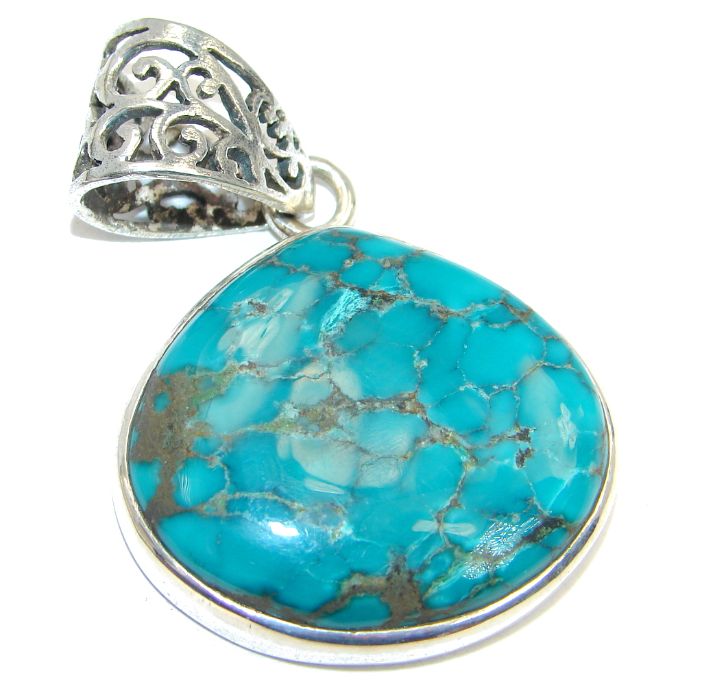 Classic Stormy Mountain Turquoise Sterling Silver handmade Pendant