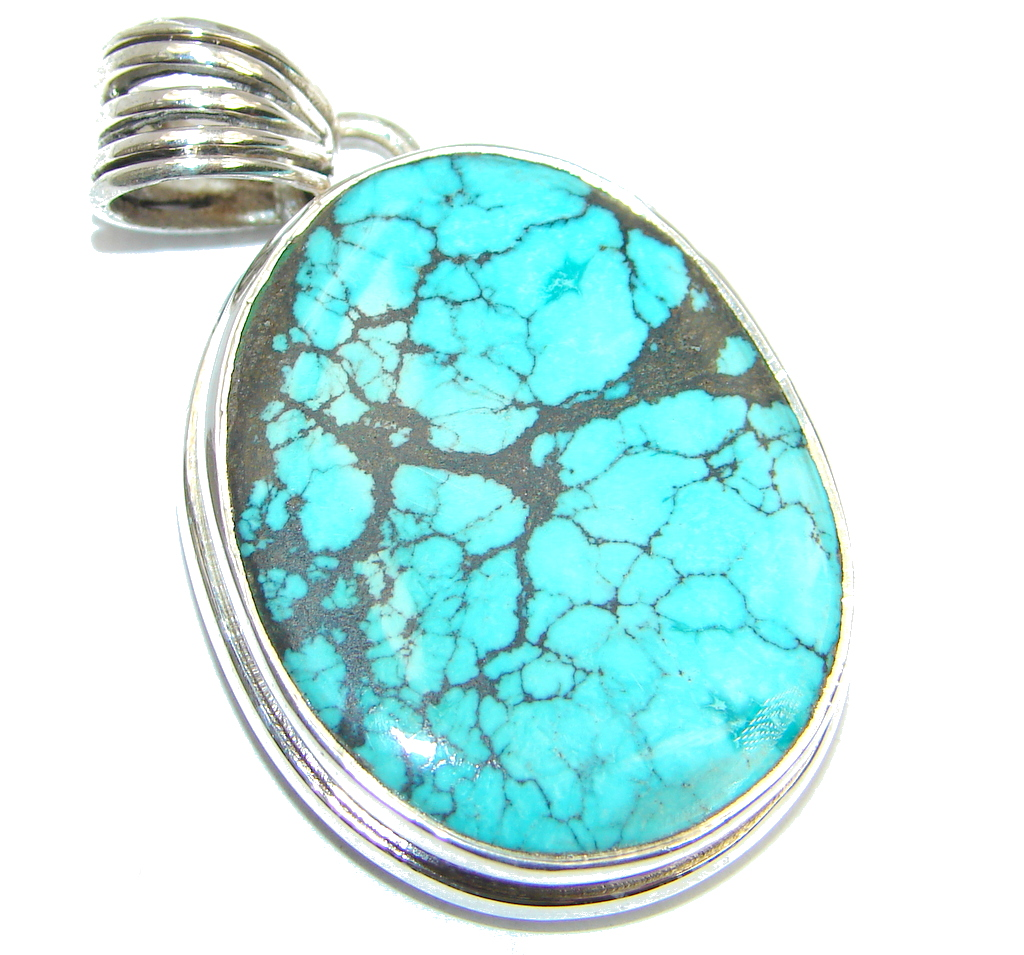 Blue Wind Fine Black Spider Web Turquoise Sterling Silver handmade Pendant