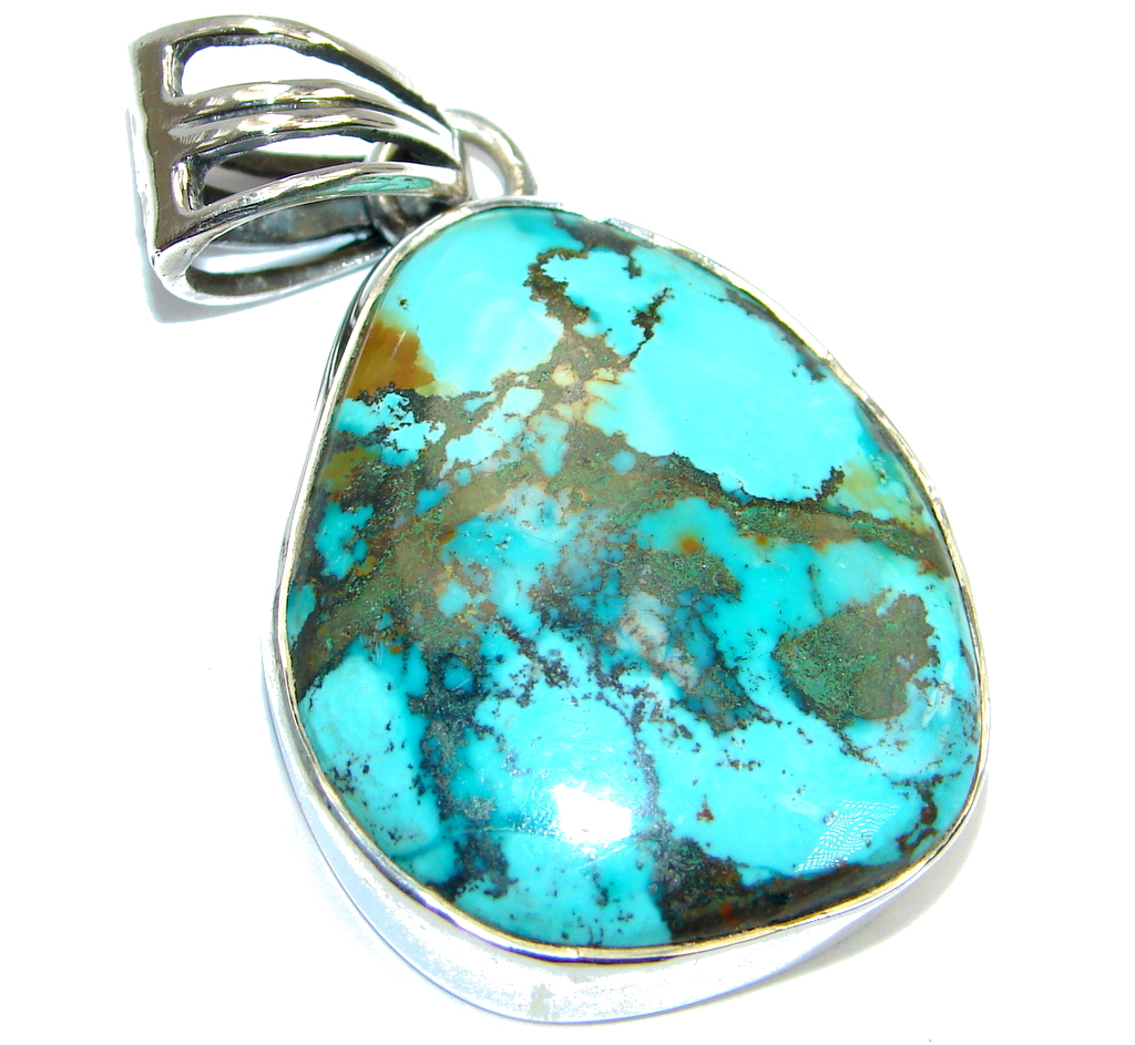 Classic Nevada Blue  Turquoise Sterling Silver handmade Pendant