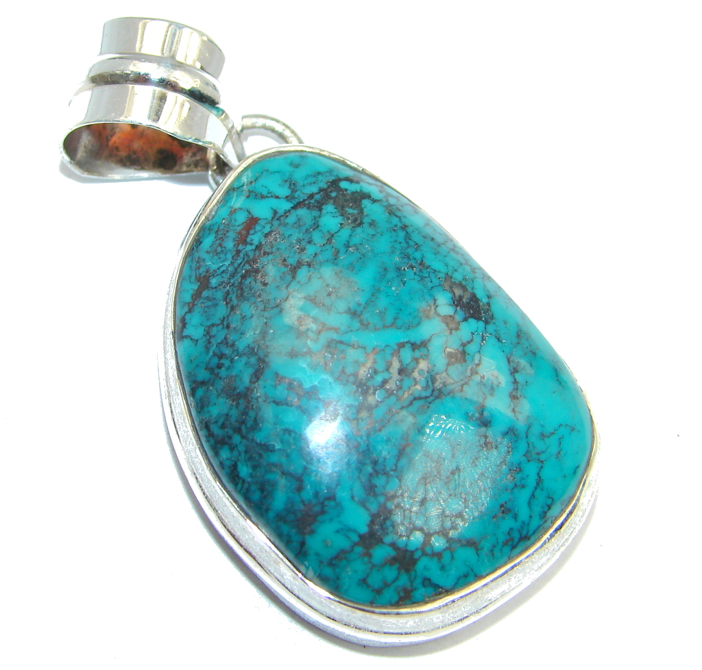Electric Blue Ithaca Peak Turquoise with Pyrite Matrix Sterling Silver handmade Pendant