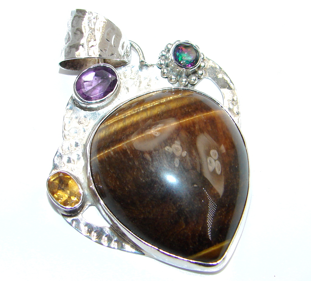 Natural Golden  Tigers Eye Sterling Silver handmade Pendant