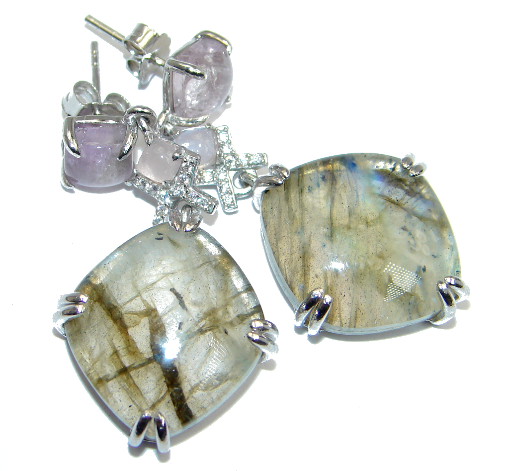 Exclusive Design Blue Fire Labradorite Sterling Silver handmade earrings