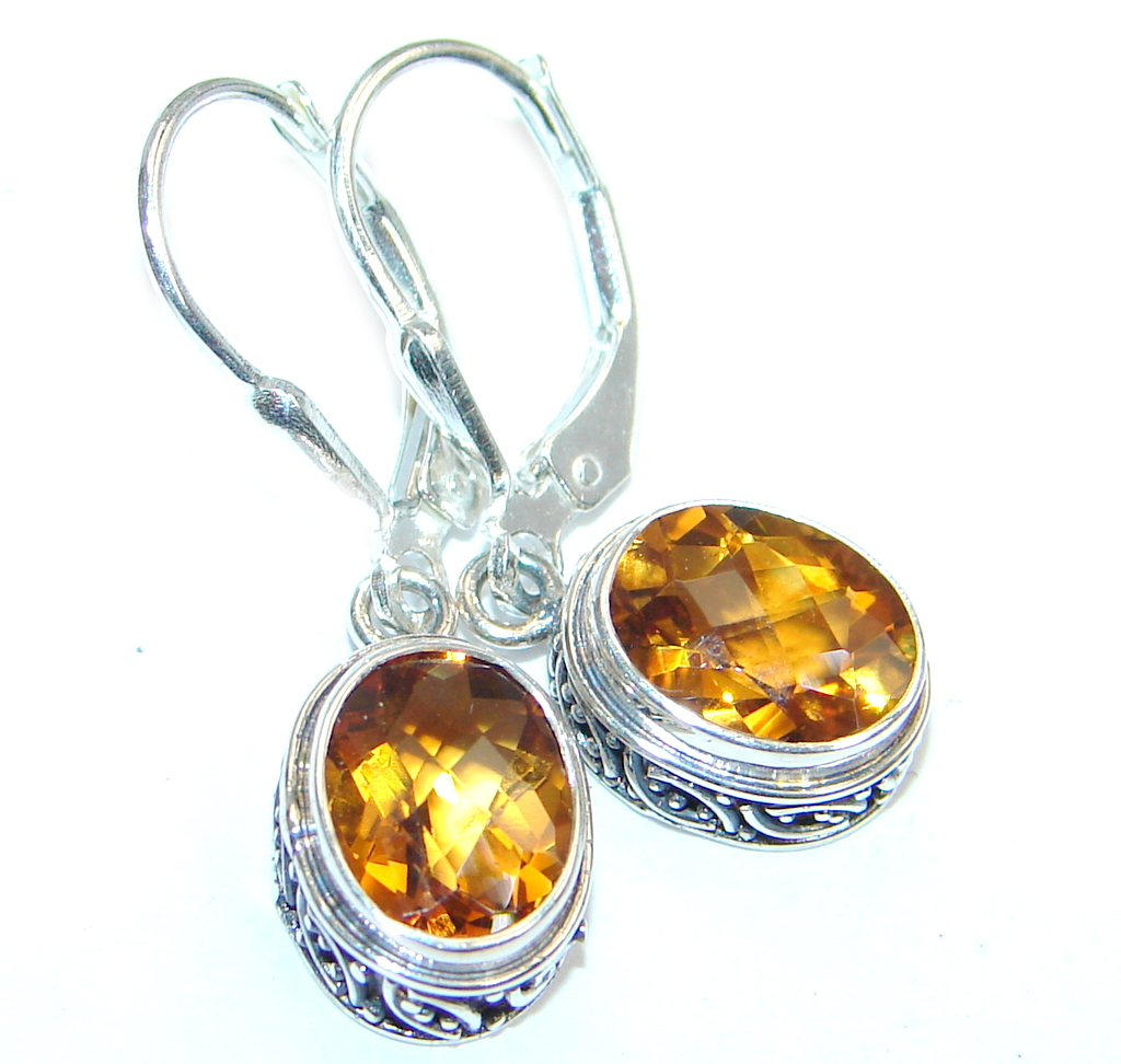Perfect Golden Citrine Sterling Silver handmade earrings