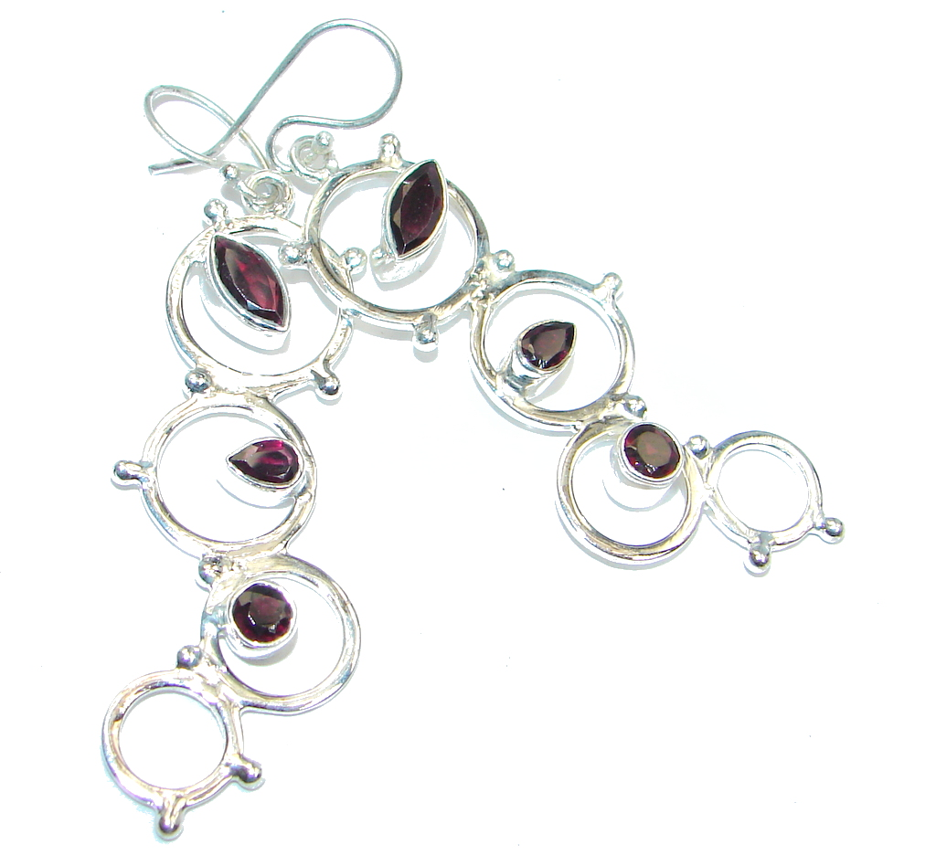 Bali Art Red Garnet Sterling Silver handmade earrings