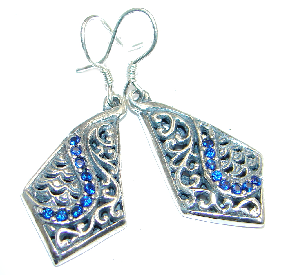 Victorian Style created Sapphire & White Topaz Sterling Silver stud earrings