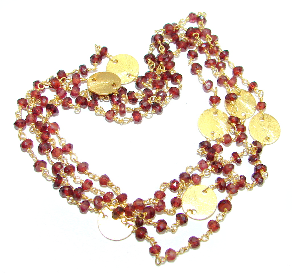 38 inches Genuine Garnet Gold plated over Sterling Silver handmade necklace