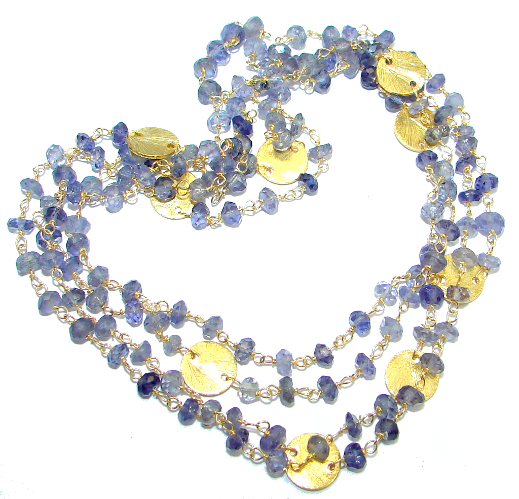 38 inches Genuine Iolite Gold plated over Sterling Silver handmade necklace