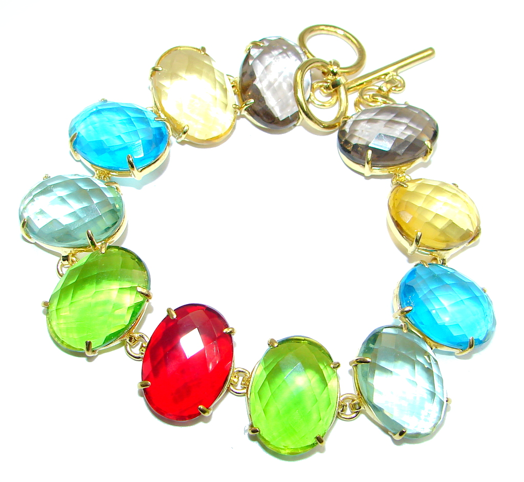 Luxury simulated Multigem Gold plated with Sterling Silver handmade Bracelet