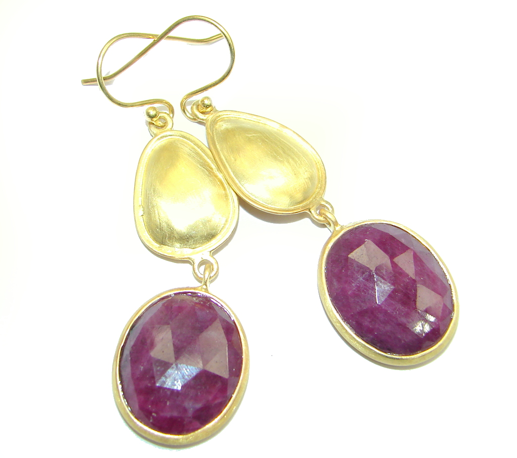 Luxury Red Ruby Gold plated over Sterling Silver handmade earrings