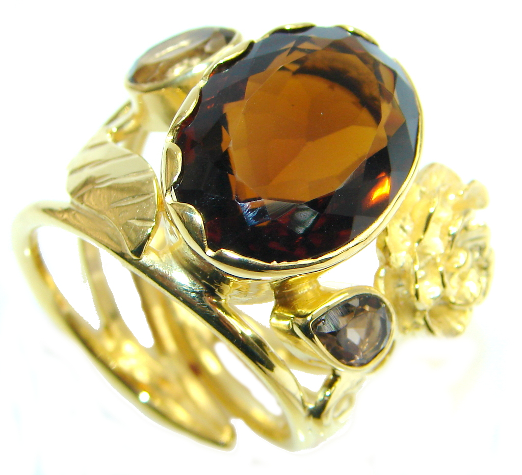 Beautiful Champagne  Topaz Gold Rhodium plated Sterling Silver Ring size adjustable