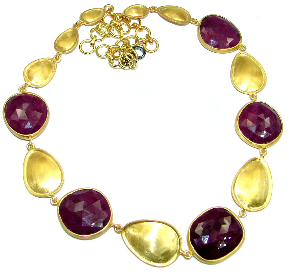 Elegant natural Ruby Gold over Sterling Silver handmade necklace