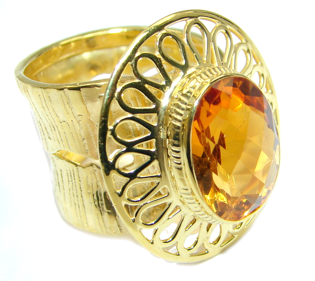 Simulated Golden Sapphire Sterling Silver plated with gold ring size adjustable