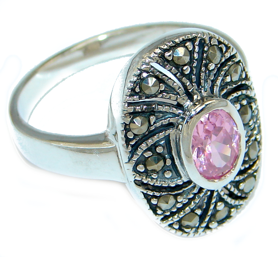 marcassite.com Great Pink Topaz Marcasite Shell Sterling Silver Ring s. 9