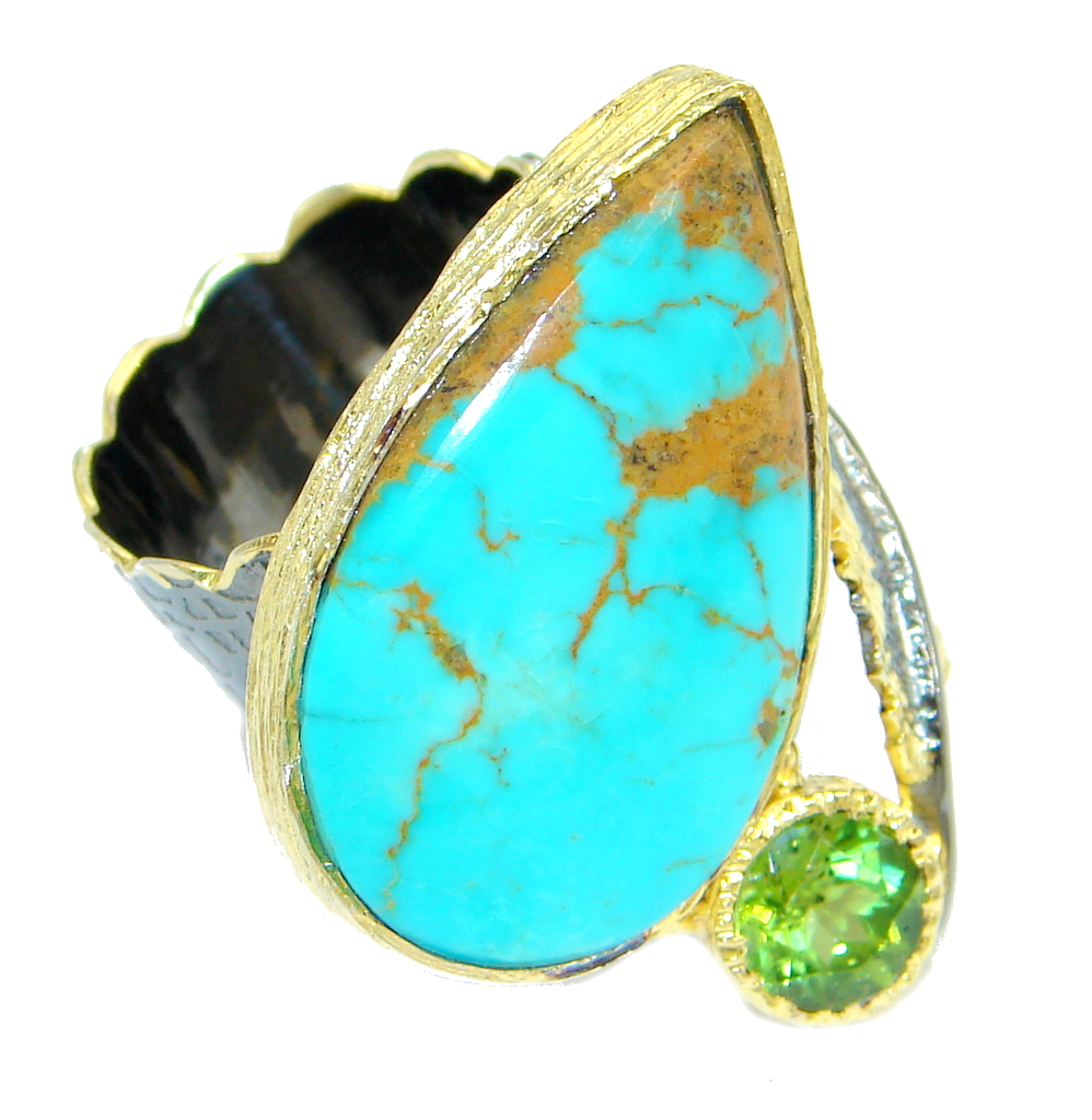 Corrico Lake Turquoise Rhodium Gold Plated over Sterling Silver ring s. 8