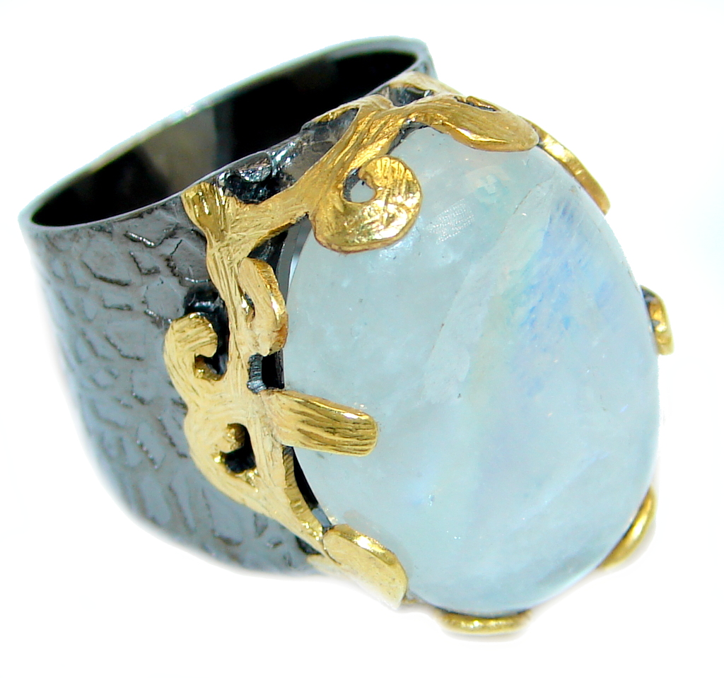 Fire Moonstone Gold Rhodium plated over Sterling Silver handmade ring size 8 1/2